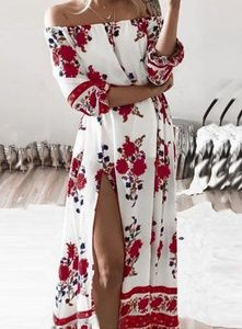 🌿Off Shoulder Floral Print Chiffon Boho Dress🌿